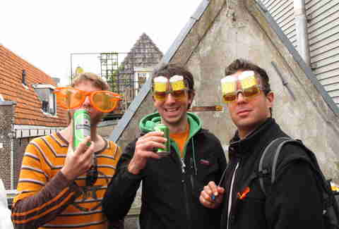 Three guys with beer goggles