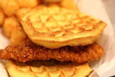 Chicken and Waffles at Moe's Tavern at Universal Studios Orlando