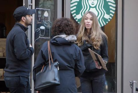 Starbucks bouncer prank