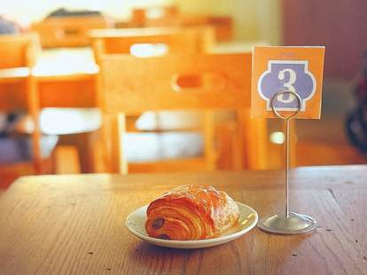 Croissant on a table