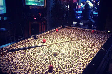 The Silver Fox Lounge's amazing leopard print pool table