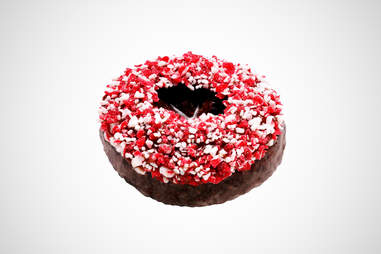 Krispy Kreme chocolate peppermint bark donut