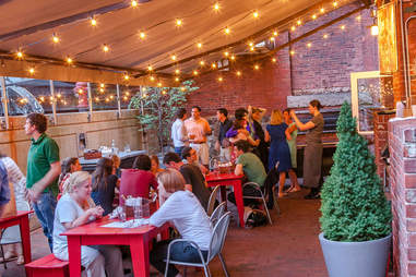 The patio at Belly Wine Bar