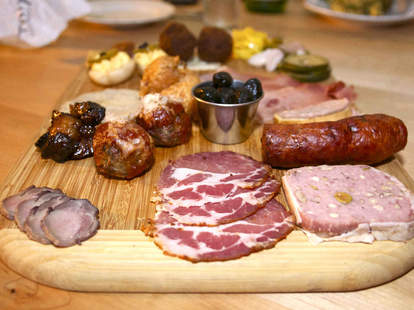 A charcuterie platter at Hopster's Brew & Boards