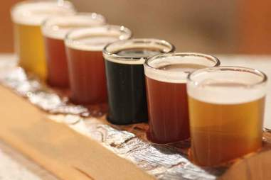 A flight of beer at Hopster's Brew & Boards