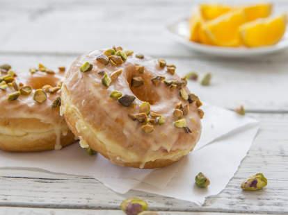 orange pistachio donuts