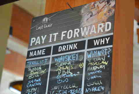 Last Chair Pay It Forward Board