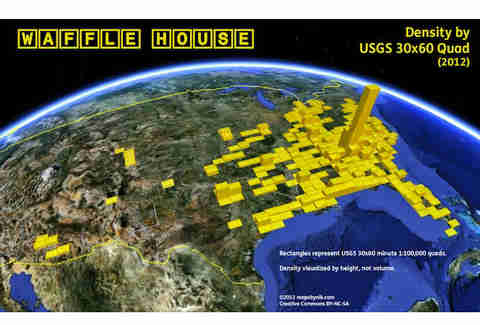 Waffle House Density Map Reveals Locations In Atlanta Alone - Density map of waffle house in us