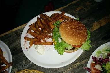 Burger and fries at Room 77