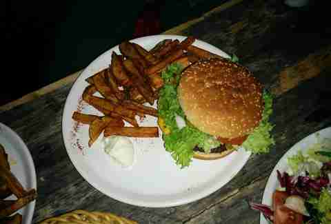 Burger and fries at Room 77