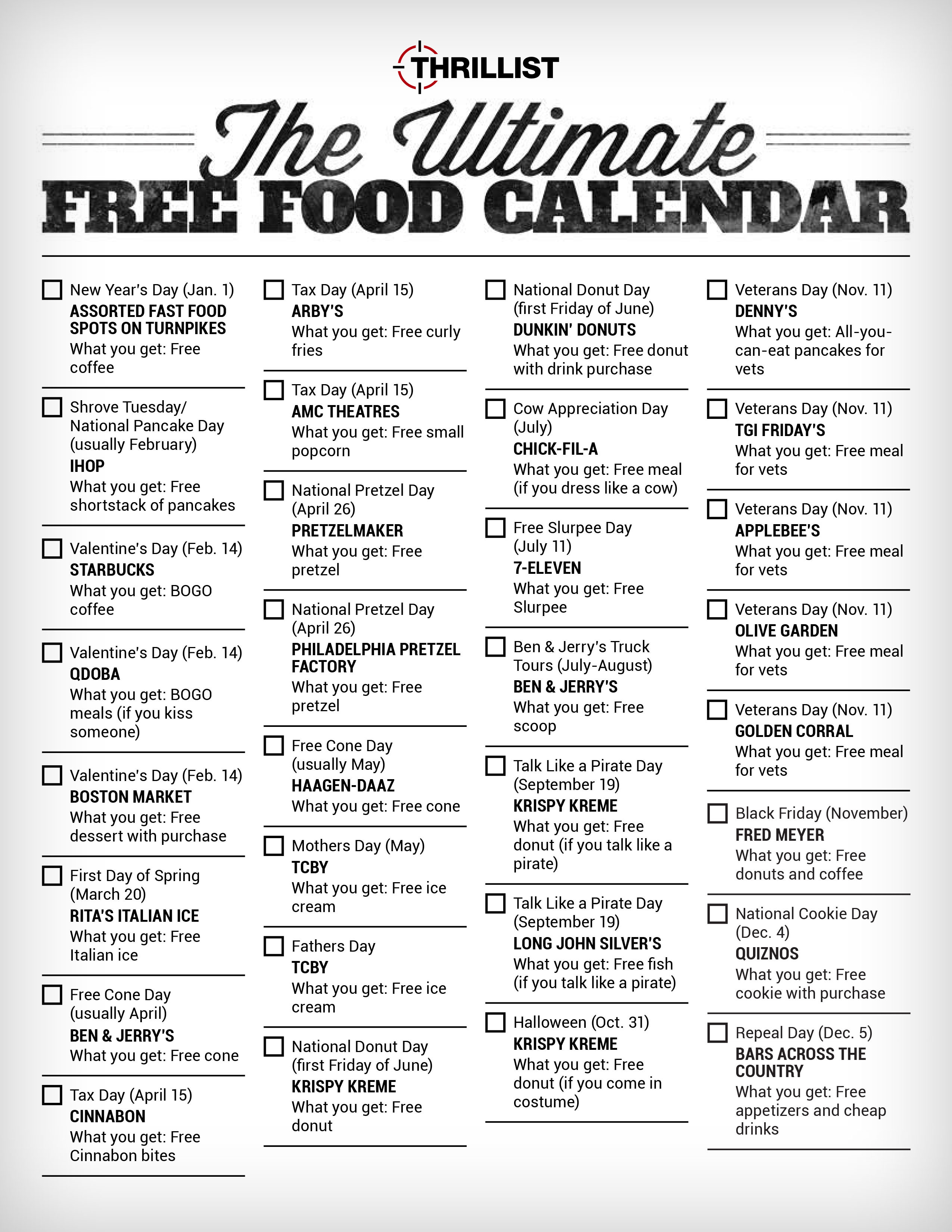 graphic relating to Cow Appreciation Day Printable identify Totally free Food stuff Holiday seasons - Nationwide Pancake Working day, Totally free Slurpee Working day
