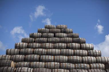 wooden barrel pyramid
