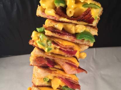 Bacon jalapeno mac 'n cheese grilled cheese on a stick