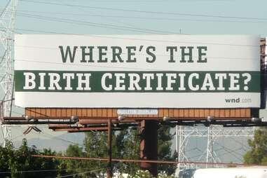 Obama birth certificate billboard
