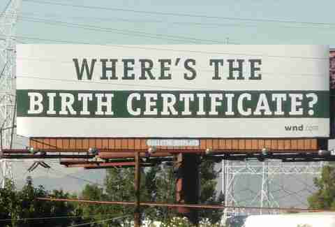 Obama birth certificate billboard