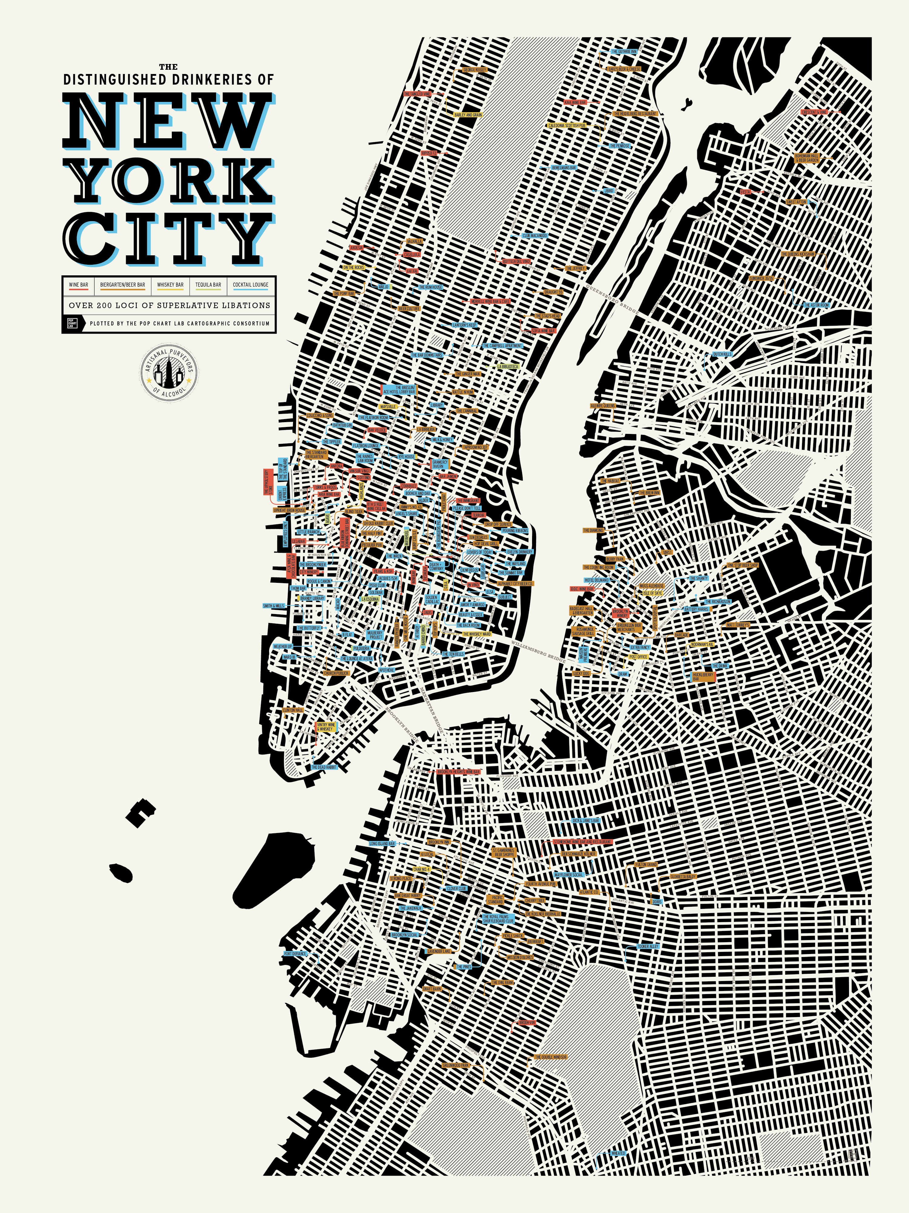 Best Map Of New York City.Nyc Bar Map Thrillist