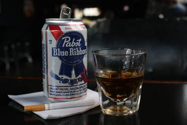 Bannock Street Garage Shot and a beer specials DEN