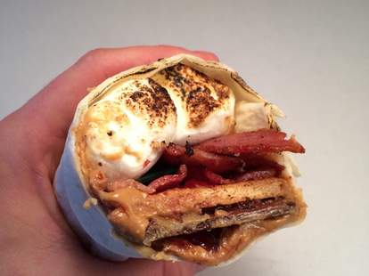 Peanut butter and jelly bacon s'morrito