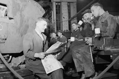 workers on lunch break