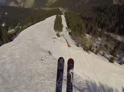 skiing on cable