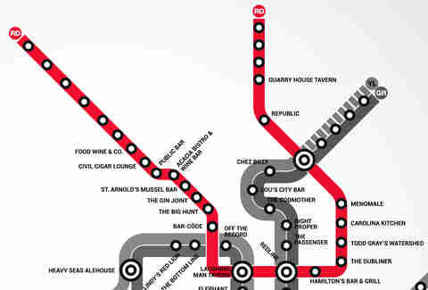 Red Line DC Metro bar map