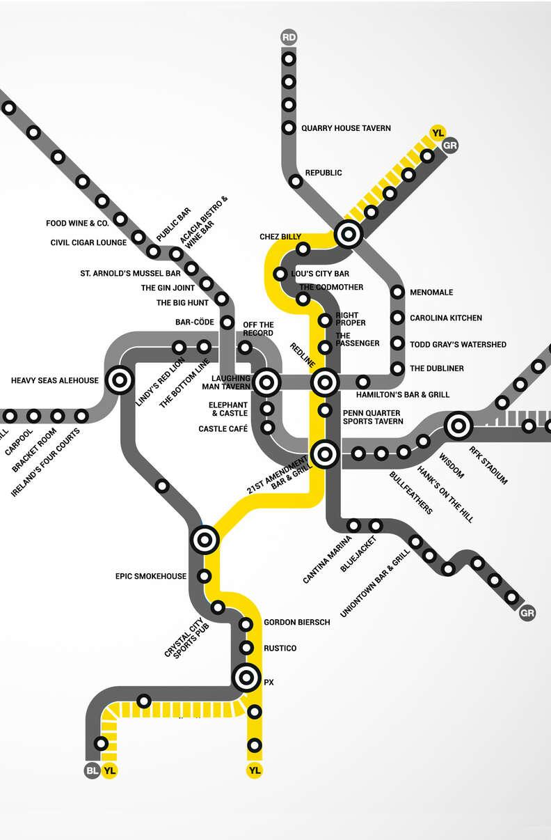 Yellow Line DC Metro bar map