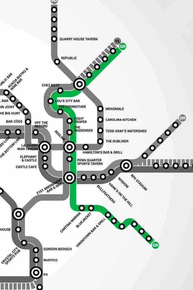 Green Line DC Metro bar map