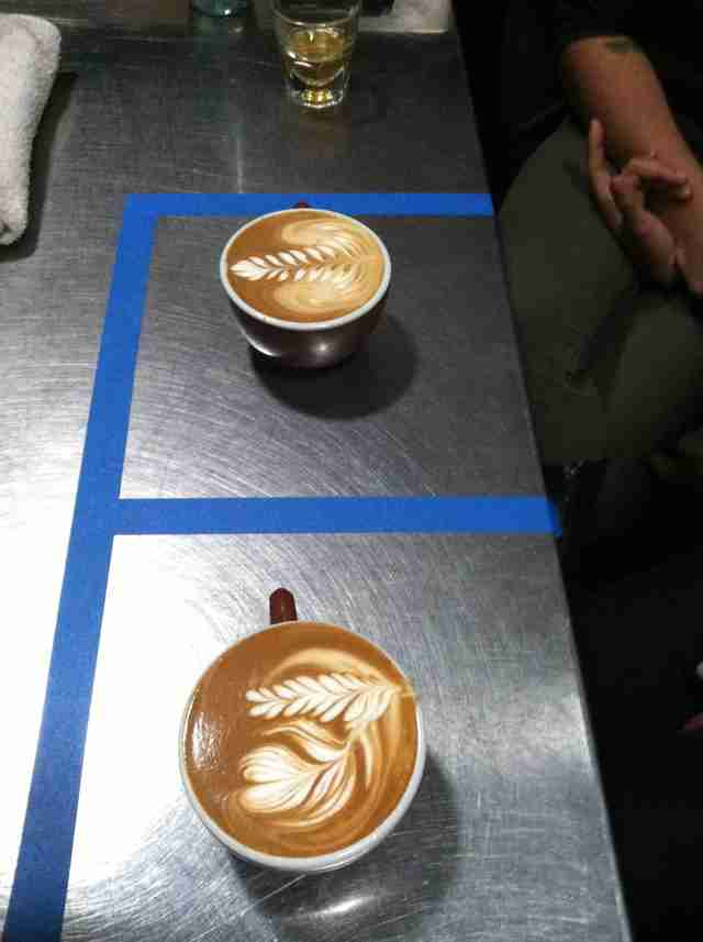 Barista art at Blue Bottle