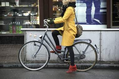blonde on bike