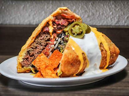 Slater's 50/50 Supreme Nacho Burger