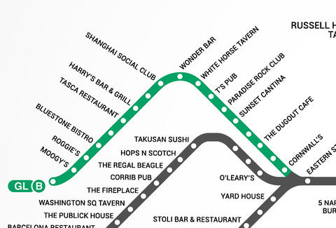 Green Line B Boston T Bar Map