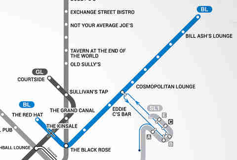 Blue Line Boston T Bar Map