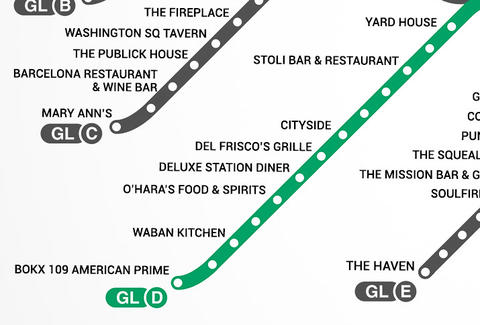 Green Line D Boston T Bar Map