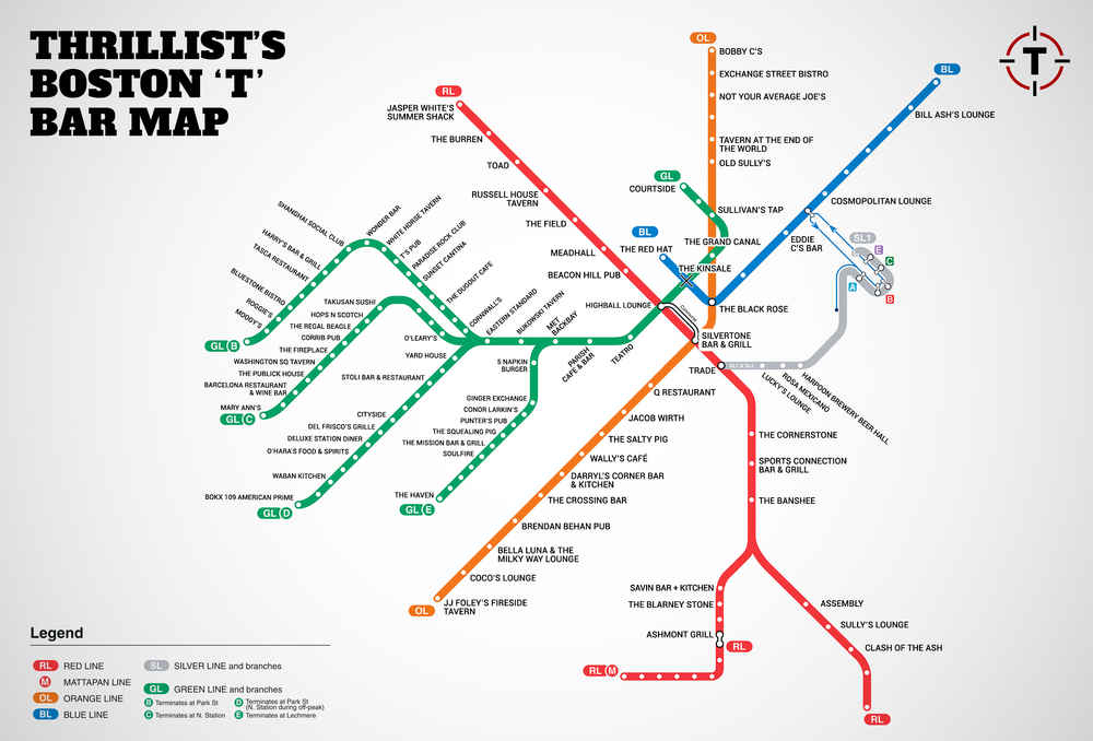 Boston's first map of bars near the T   MBTA Bar Map   Thrillist