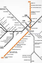 orange line map boston Boston S First Map Of Bars Near The T Mbta Bar Map Thrillist orange line map boston