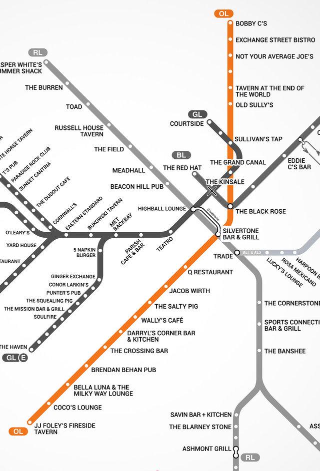 Boston39s First Map Of Bars Near The T  MBTA Bar Map