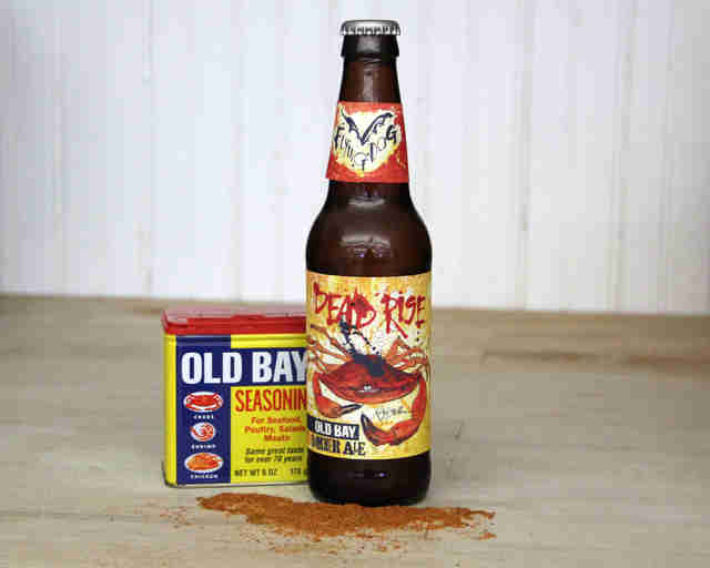 Old Bay Dead Rise Summer Ale with tin of Old Bay