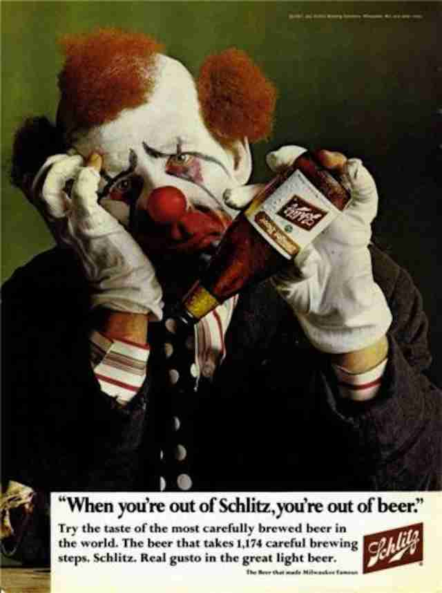 1960s Schlitz ad with clown