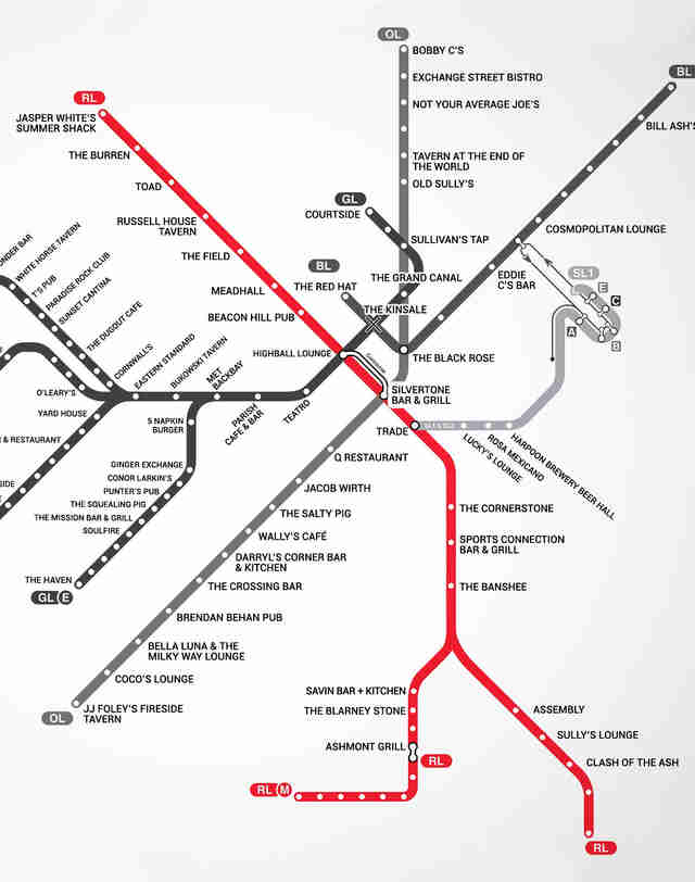Red Line Boston T Bar Map