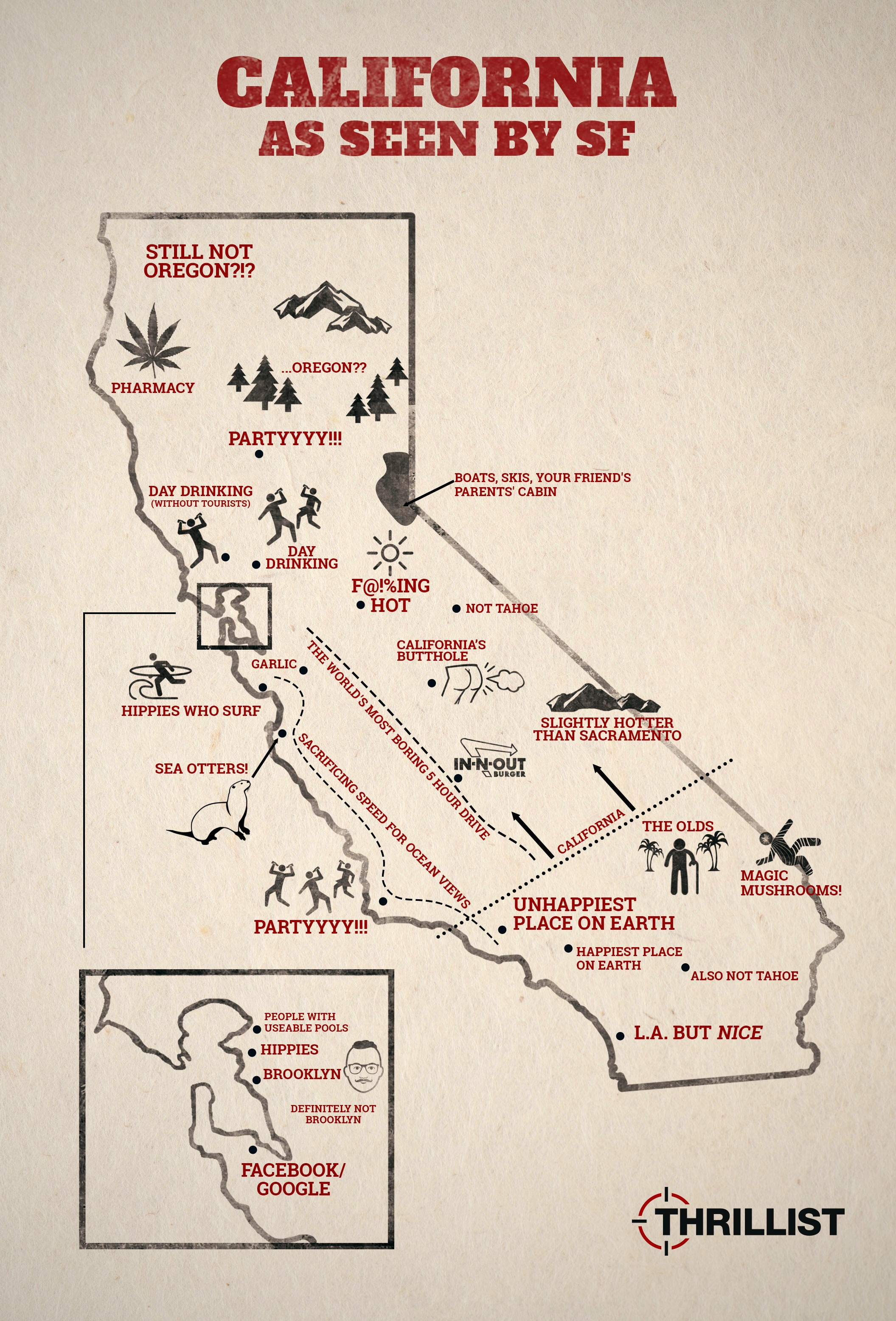 Map Of California Funny.California According To Sf Thrillist