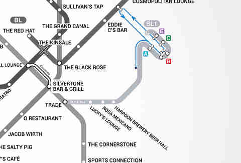 Silver Line Boston T Bar Map