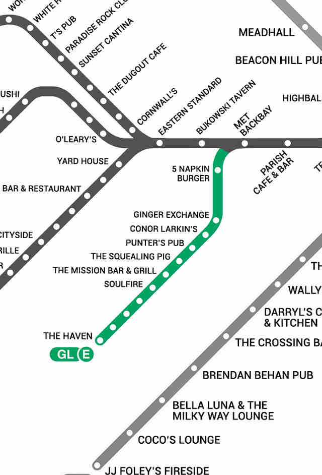 Green Line E Boston T Bar Map