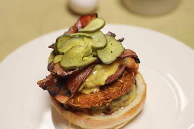 Pickles on Brunch Burger