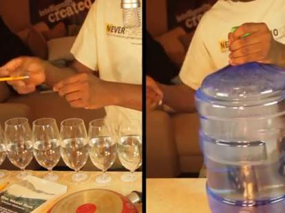 Dan Newbie plays Game of Thrones theme song on jug, water glasses
