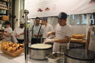 Eataly Nutella bar cook making crepes