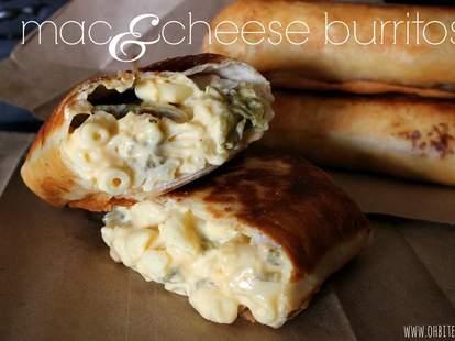 Mac 'n cheese burritos