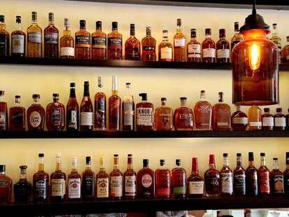 Shelves of whiskey