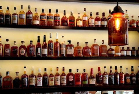 Shelves of whiskey