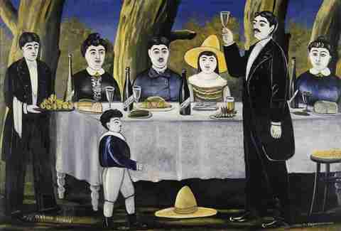 """A Family Celebration"" painted by Niko Pirosmani in 1907"