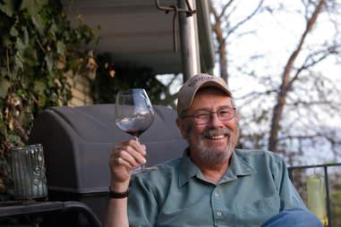 dad drinking wine